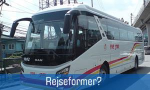 guide til rejseformer f.eks. bus, fly, bil